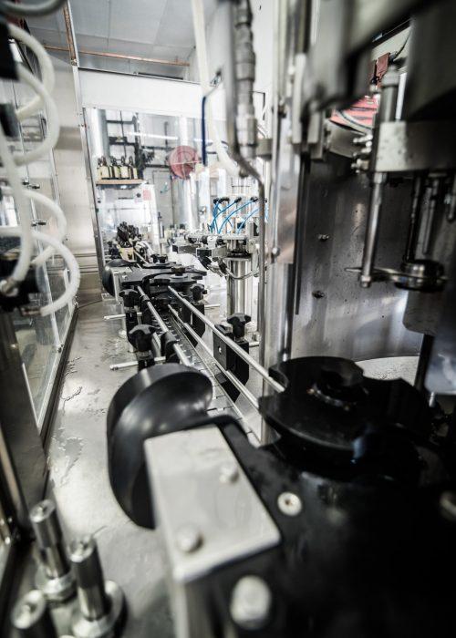 Metallic�conveyor on microbrewery